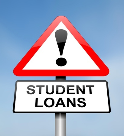 red sign saying student loans