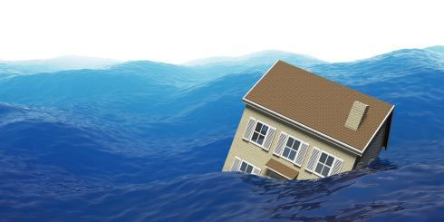 drawing of house in ocean water