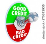 Half circle with top section labeled good credit and bottom labeled bad credit