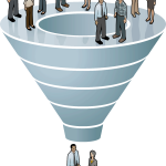 cartoon- funnel 9 people on top two people on bottom