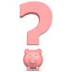 pink question mark with coin piggy bank as question mark dot